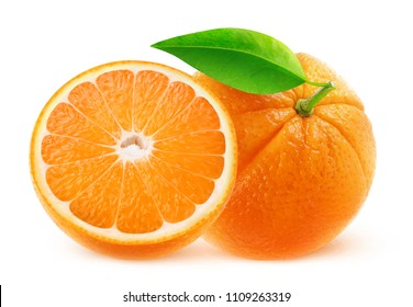 Isolated fruits. One and half oranges isolated on white background with clipping path