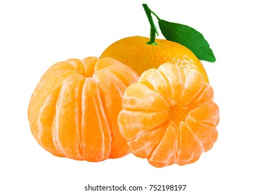 Isolated fruits.  Three isolated whole peeled mandarin on white background with clipping path as a package design element.