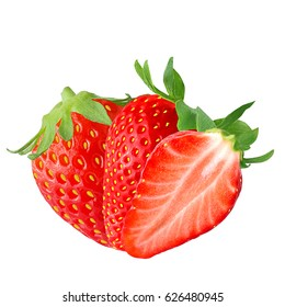 Isolated fruits. Two and half Strawberry isolated on white background as package design element.