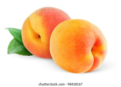 Isolated fruits. Two peaches (or apricots) isolated on white background
