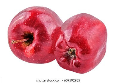 Isolated fruits. Two red apple isolated on white with a clipping path as package design element. Healthy eating. Food photography.