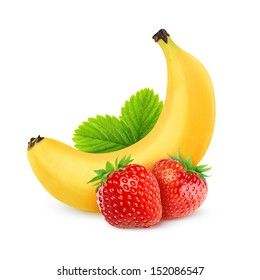 Isolated fruits. Two strawberries and banana isolated on white background