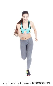 Isolated full length portrait of fit girl running or jogging