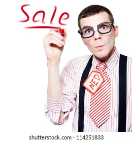 Isolated Funny Nerd Advertising A Store Sale With Red Marker In A Depiction Of Marketing