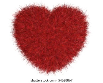 Isolated furry red heart