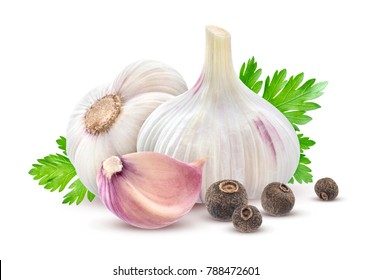 Isolated garlic. Garlic with parsley and spices isolated on white background