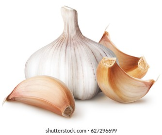 Isolated garlic. Raw garlic with segment isolated on white background, with clipping path