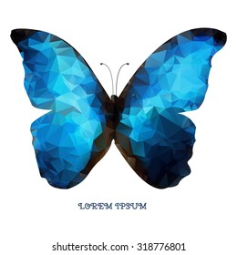 Isolated geometric logo blue butterfly as a design element.