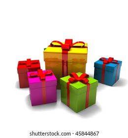 isolated gift boxes - 3d render on white