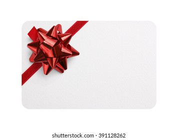 Isolated gift card with red bow