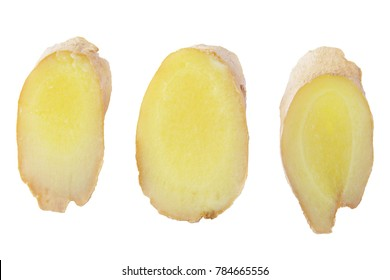 Isolated Ginger root. Collection of three slices ginger root isolated on white background with clipping path for package design.