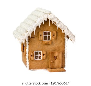 Isolated gingerbread house on a white background