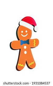 Isolated gingerbread man on a white background. Christmas decoration.