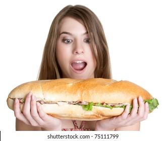 Isolated girl eating sandwich food