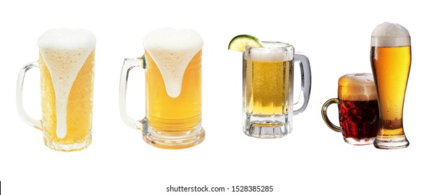 isolated glass of beer white background