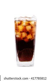 isolated glass of cola with clipping path