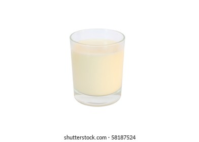 Isolated glass of fresh milk on white