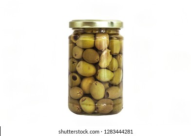 Isolated glass jar of green olives on white background