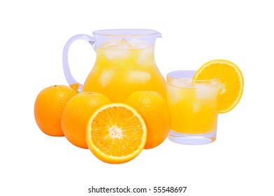 isolated glass and jug of orange juice