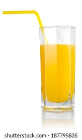 Isolated glass of orange juice with a straw on white background