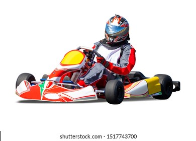 Isolated Go Kart Racer on White Background - Red and Yellow Car