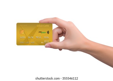 Isolated gold credit card in hand