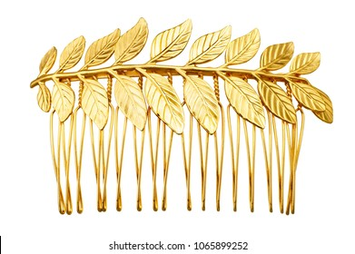 isolated gold leaf hair clip