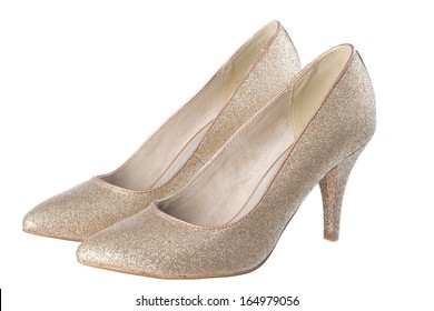 isolated gold shoes