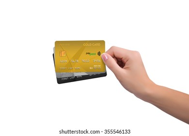 Isolated gold two more cards in woman hand