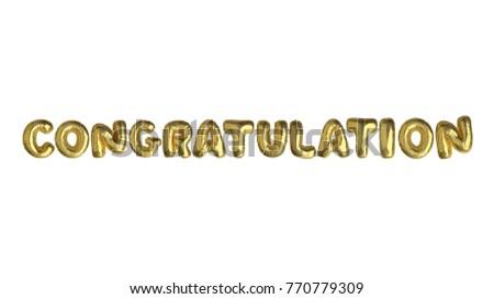 isolated golden air balloon word congratulation stock photo edit