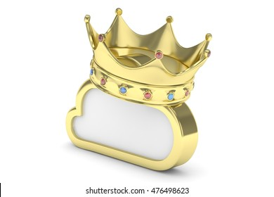 Isolated golden cloud icon with crown and gems on white background. Symbol of communication, network and technology. Broadband. Online database. 3D rendering.