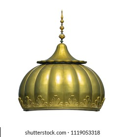 Isolated Golden Dome Of A Sikh Gurdwara Temple