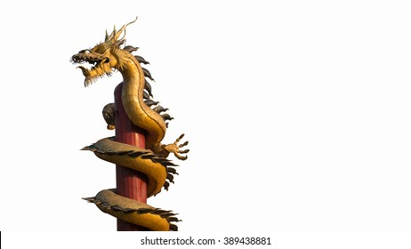 Isolated Golden Dragon is a symbol of Wealth and Prosperity, The Dragon prop up.Wat Thamai