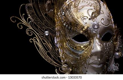 isolated golden mask on black background