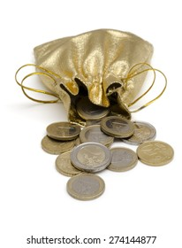 Isolated Golden Money Bag Full of  Euro Coins