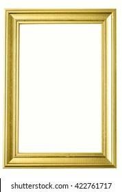Isolated golden photo frame on white background