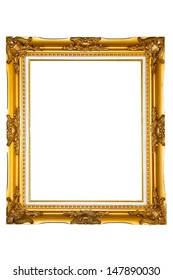 Isolated golden wood photo frame