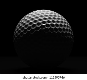Isolated golf ball on dark background with illumination from top