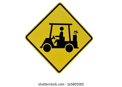 Isolated Golf Cart Crossing sign