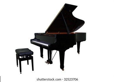 isolated grand piano and regulated black bench with clipping path