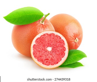 Isolated grapefruit. Pink grapefruits isolated on white background, with clipping path