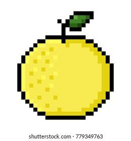 Isolated Grapefruit  pixel art; Yellow grapefruit in big pixels
