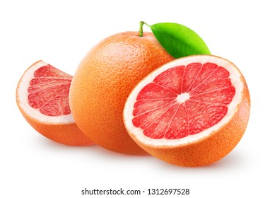 Isolated grapefruits. Whole grapefruit, half and piece isolated on white background, with clipping path