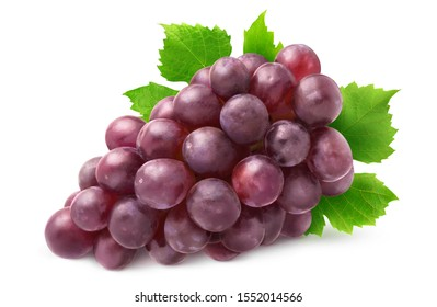 Isolated grapes bunch. Red grapes with leaves isolated on white background with clipping path