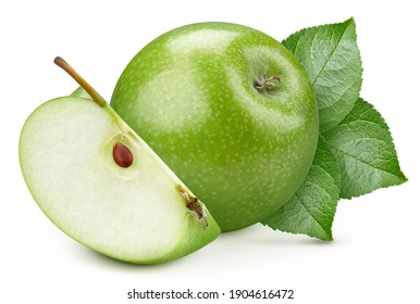 Isolated green apple with leaf. Apple fruit and slice apple on white background with clipping path. High End Retouching