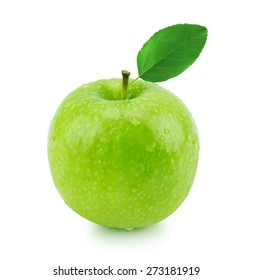 Isolated green apple with leaf and water drops (white background). Fresh diet fruit. Healthy fruit with vitamins.
