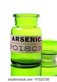 Isolated green bottle with arsenic label.