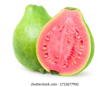 Isolated green guava. One whole guava fruit and a pink fleshed half isolated on white background