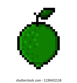 Isolated green lime pixel art; Lime in Big Pixels