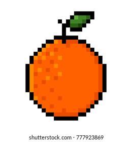 Isolated green orange pixel art; Orange in Big Pixels